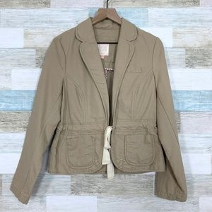 Utility Drawcord Jacket Tan Open Front Old Navy